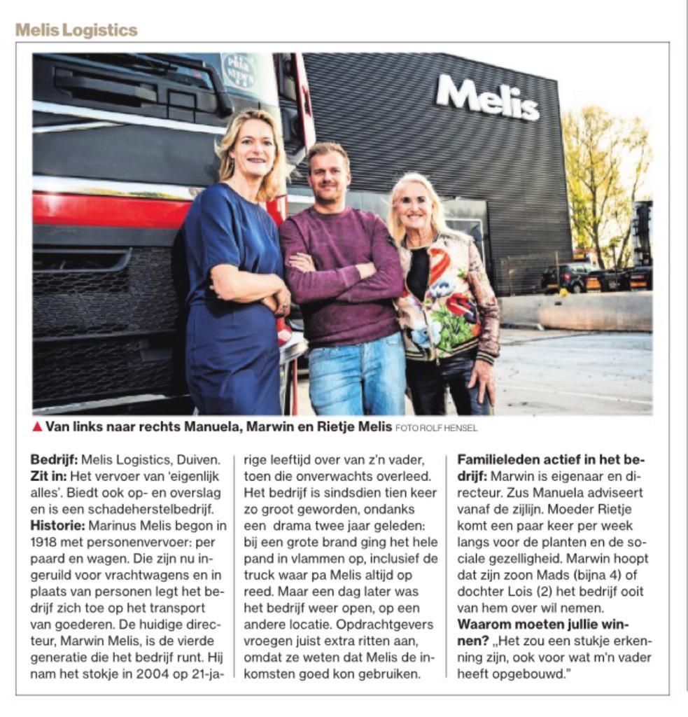 Melis Logistics genomineerd voor Gelderse Familiebedrijven Award 2018